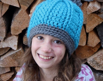 Double Ribbed Hat with pompom pdf PATTERN, newborn to adult sizes, hat/beanie/toque to crochet, digital download