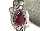 Winter Berry Ring - size 8.5 - Sterling Silver and Deep Red Chalcedony with Bunny