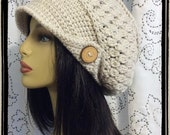 Ivory Slouch Crochet Ladies Hat with wood button and brim hat
