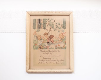 Love Takes Care of Us / 1940s child's prayer illustrated lithograph original print ivory painted wood frame cottage chic Nursery gift Art