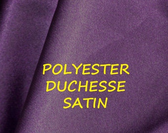 1 YARD, Royal Purple, Duchesse Satin, Wide Fashion or Lining Fabric, Heavy Weight Polyester, B25