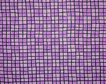 Purple Black Grid Print, Quilting Cotton Fabric, Lines, half yard, B10