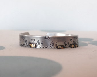 Sterling Silver Cuff Bracelet Adjustable Cuff Bracelet Woman's Cuff Men's Cuff Dog lover jewelry