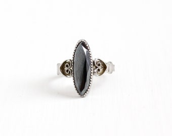 Vintage Sterling Silver Hematite Ring - Retro 1960s Size 6 3/4 Marquise Pointed Gray Stone Heart Romantic Jewelry Signed WM Wheeler Co.