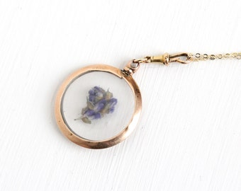 Antique 9k Rose Gold Photo Locket Pendant Necklace - Edwardian 1900s 9ct Dated 1905 Clear Lucite Cover Fine Pendant Photographic Jewelry