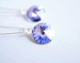 Earrings, Silver Earrings, Crystal Earrings, Long Earrings, Dangle Earrings, Drop Earrings, Purple Earrings, Handmade Earrings, Gift for Her