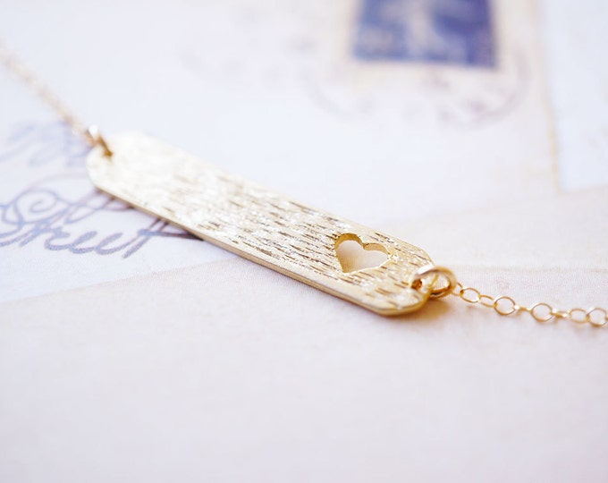 Featured listing image: Necklace, Gold Necklace, Bar Necklace, Heart Necklace, Layering Necklace, Gold Bar Necklace, Handmade Necklace, Bridesmaid Necklace, Gift
