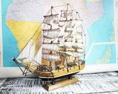 Three Masted Ship, Pirate Ship, Vintage Model Ship