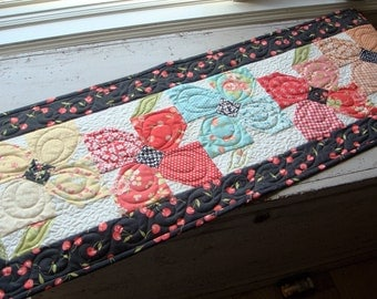 Handmade Quilted Flower Table Runner