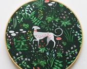 Hand Embroidery Hoop Art. Hunter Green Greyhound, Dog Art. Stitched Text, Wish. Green, Pink Nursery Decor. Modern Hoop Wall Art. Girls Room.
