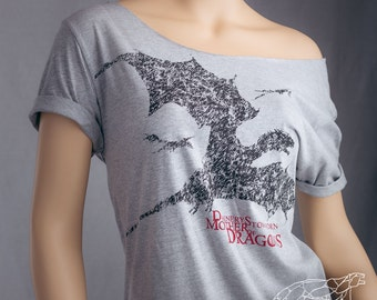 Daenerys Shirt Mother of Dragons Daenerys Stormborn Winter Is Coming & The Dragons of House Targaryen Off The Shoulder Oversized Slouchy Tee