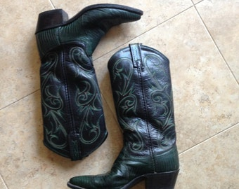 Cowboy Western Boots Green Dan Post 5 1/2 Western Leather Stitched Lizard Snake Texas Rodeo
