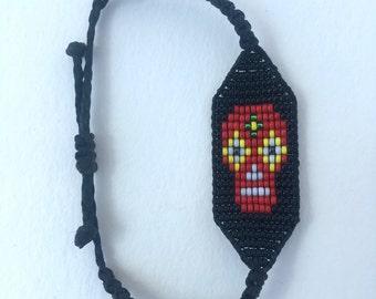 Petite Beaded Calavera Skull Bracelet
