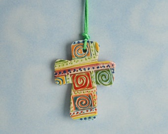 Swirls Textured Cross Ornament Hand Made and Painted