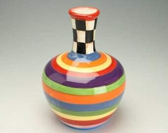 Striped Checkerboard Ceramic Vase, Black and White Checkered Pottery Vase, Striped Flower Vase, Ceramic Checker Board Flower Vase
