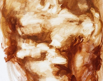 "Extra Large Male Figure Painting, red brown gestural abstract figure art, 30 x 48"", original canvas by Derek Overfield"