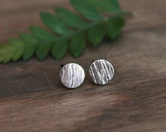 Silver Round Stud Earrings/Minimalist Silver Round Earrings/Dainty Round Earrings