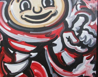 30x24 Officially Licensed Product The Ohio State University Painting Justin Patten Sports Art College Football Brutus (2217) 3024OSURFUV