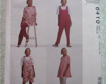 Easy to Sew Maternity Tunic, Jumpsuit in Two Lengths and Pants in Two Lengths Sizes 10-12-14 Vintage 1990's McCalls Pattern 6410 UNCUT