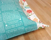 Jane Austen Pillowcases, Set of 2, Pride and Prejudice Pillow Cases, text from her books, great gift, floral trim, standard full queen