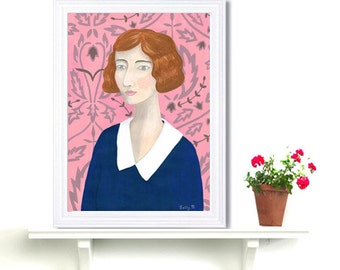 Folk Flapper Lady Art Print Acrylic Painting Digital Print Wall Art Fashion Pink Pastel Drawing Naive Art Roaring 1920 Wall Decor Whimsical