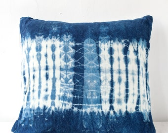 Indigo Ripple Shibori Pillow