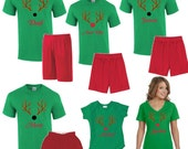 Personalized Christmas Pajamas with Reindeer - Family Christmas Tradition - loungewear - Shirt & Shorts - Rudolph