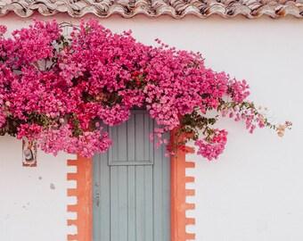 Travel Photo, Pink Flower Photography, Door Print, Mint Door Photo, Pink Bougainvilleas, Summer Photograph, Portugal Photo, Pink Decor