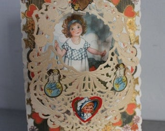 Valentine Pop-Up greetings card 1920's jump roping girl doily scalloped edges beautifully illustrated sisters cherubs metallic embossing