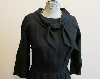 Little Black Dress LBD 1950s sailor tie neck pencil with POCKETS L
