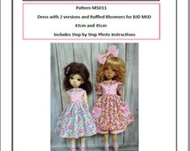 Pattern MSD11 Dress and Ruffled Bloomers for BJD MSD Fit to Kaye Wiggs MSD 43cm and 45cm