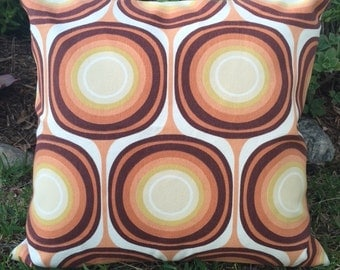 Pillow Cover in Mod Brown, Orange & Rust Upholstery Fabric