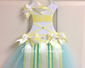 Tutu Dress Hair Bow Holder Aqua White Yellow --- Personalized  Perfect Gift For Birthday Baby Shower It's a Girl