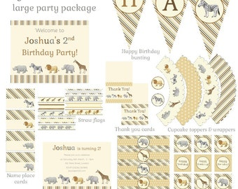 Safari Animals Party Set (large) - printable birthday party package, zoo, personalised invitation, bunting, cupcake wrappers, flags and more