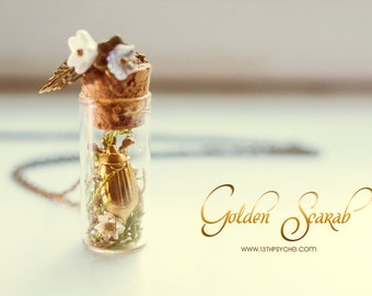 Golden beetle Bottle necklace. bug bottle pendant, Romantic Necklace, miniature terrarium necklace, insect jewelry, gardening gift for her