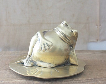 Vintage brass frog on lily pad