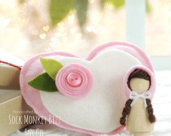 Valentine's Day Gift, Pink Wooden Pixie Peg Doll and Heart Plush Bed, Gifts Under 20