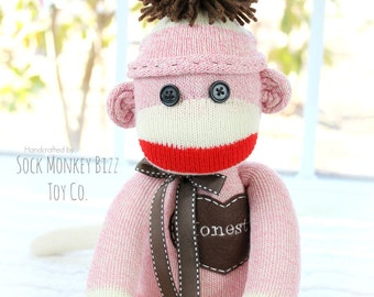Pink Traditional Sock Monkey Doll with Hat, More Colors Available