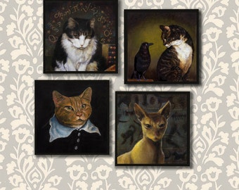 Cat Coasters, Cat Portrait Coaster Set, Cat Lover Gift, Cat Owner, Hostess Gift, Housewarming, Persian, Tabby, Calico, Rescue