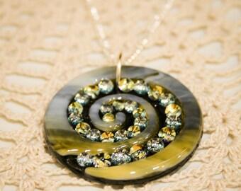 Art Glass Gold Silver Spiral // Dichroic Fused Glass Pendant // StephGlass Original Art