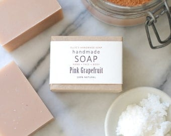 PINK GRAPEFRUIT - Ellie's Handmade Soap - 100% Natural + Cold Process Olive Oil Soap - 4 ounce bar