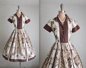 50's Shirtwaist Dress // Vintage 1950's Printed Cotton Full Casual Shirtwaist Dress