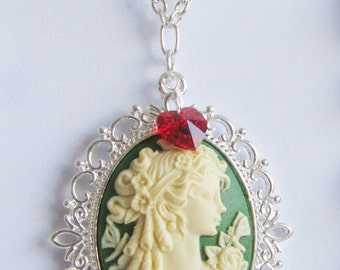 Cameo necklace, charm necklace, green jewelry, large pendant necklace, gift for her, silver necklace, Europe