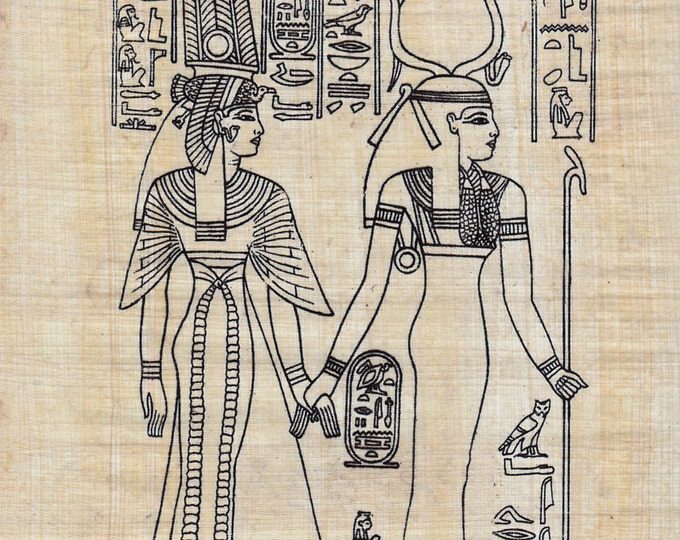 Color Nefertari and Goddess of motherhood and magic on Egyptian Papyrus! Create your own work of art! Great for all ages!