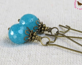 Aqua Blue Long Dangle Earrings, Vintage Bronze, Aqua Brass Earrings, Rustic Dangle Earrings, Leverback, Kidneey, by MagpieMadness for Etsy
