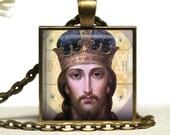 Jesus Christ Savior Glass Tile Silver Pendant Necklace Handmade Religious Jesus Jewelry