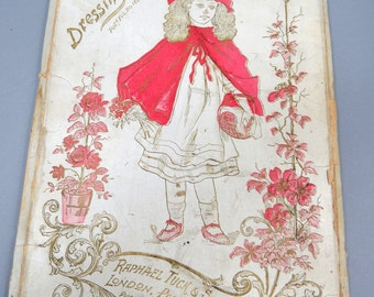 Antique Raphael Tucks Fairy Tale Series Paper Doll Set, 1894, Little Red Riding Hood, RARE Chromolithograph. Cutout Dresses, Hats