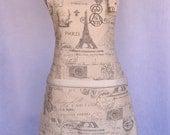 Paris Script Print Womens Full Apron French Eiffel Tower Cottage Chic