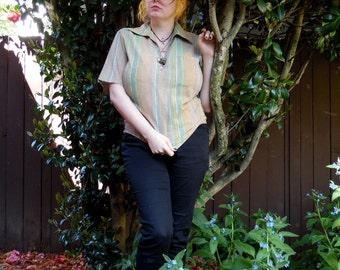 60s/70s Pastel Pumpkin Striped Spring Summer Lightweight Soft Lounge Poolside Shirt S