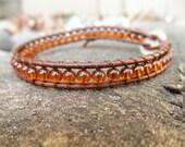 Single Amber and Leather Wrap Bracelet